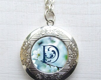 Personalized Locket Necklace, Custom Monogram Locket, Silver Photo Locket