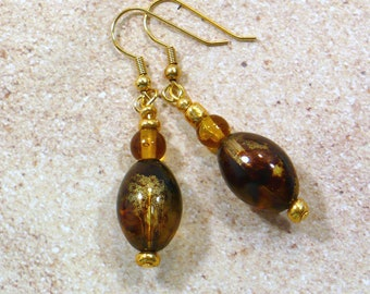Brown and Gold Retro Earrings; 60s Style Dangle Earrings, Nickle-Free Earwires, Handmade in the USA, Ready to Ship