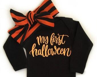 My First Halloween, Baby Girl Halloween Outfit, Baby Halloween Costume, Halloween Headband, Girls Halloween Shirt
