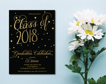 Black & Gold Class of 2018 Graduation Invitation Card/Graduation Announcement/Black and Gold High School Graduation Card/College Graduation