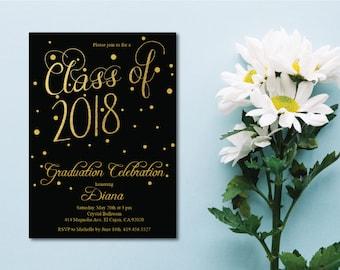 Black & Gold Class of 2018 Graduation Invitation Card/Graduation Announcement/Black and Gold High School Graduation Card/College Graduation