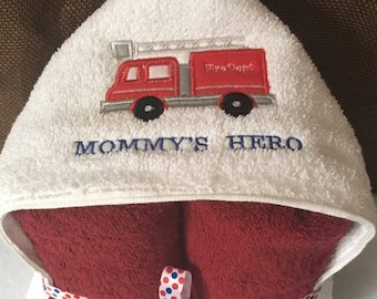 Fire Engine Hooded Towel