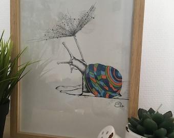 Numbered on 20 snail framed A4 illustration