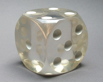 Vintage 1970s giant lucite dice, Polished acrylic die paperweight, Collectible casino game, Unusual gift idea for gambler, Office desk decor