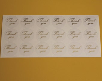 Thank you - Gold or Silver on clear background, 1.25in dia vinyl stickers - sets of 18
