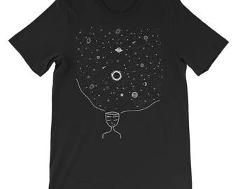 Galaxy in her Mind T-Shirt Tumblr Hipster Grunge Aesthetic Stars Sun Moon Streetwear Urban Universe Beautiful Mind Tee Rad