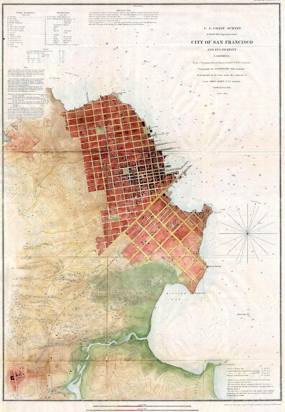 San Francisco map Old map of San Francisco 1853 Restoration Decor Style Vintage San Francisco map map art  housewarming gift fine art print