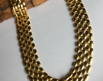 Gold Plated Linked Chain Necklace, Vintage Necklace, Etsy, Etsy Jewelry