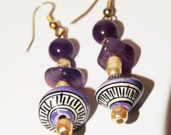 Amethyst Rice Pearl Hand Painted Ceramic Earrings.