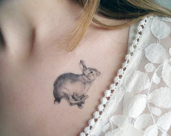 Temporary Tattoo Feathers and Rabbit (Includes 2 Tattoos)
