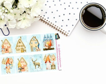 Planner Stickers|Winter Gnome Full Box Stickers|Gnome Decorative Full Box Stickers|For use in a variety of planners and journals|GN001