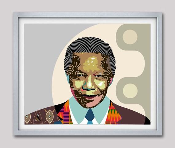 Nelson Mandela Wall Art, Nelson Mandela Painting, Nelson Mandela Print, Madiba, South African Art, South African Gift, South African Art