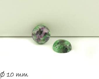 2 PCs cabochons, Ruby in Fuchsite stone, Ø 10 mm