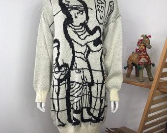Vtg 80s egyptian sweater avant garde dress