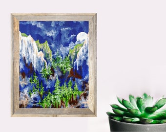 Full Moon Canyon Landscape, Montana Idaho Forest Print, Acrylic Pine Wall Art, Gift for Him or Her