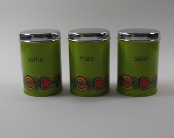 set of Brabantia kitchen storage tins, storage canisters, coffee ,tea & sugar, 1970s