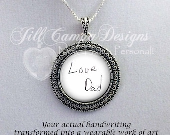 Actual Handwriting necklace - your Handwriting on a necklace -YOUR Loved ones Handwriting or signature - Loved Ones Handwriting, handwritten