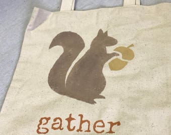 "Gather Squirrel- 13"" tote bag"
