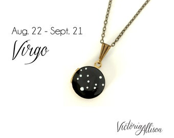 Virgo Constellation Necklace, Zodiac, Hand Painted Small Vintage Locket, August September Birthday, Virgo the Virgin Star Symbol