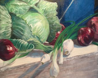"""Still Life with Cabbage Original painting by GMLuttrell 12""""x12"""" kitchen onions enamelware"""