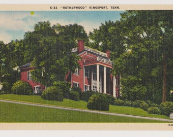 "Vintage Linen Postcard, K-32 ""Rotherwood"" Kingsport, Tenn., Historical Home"