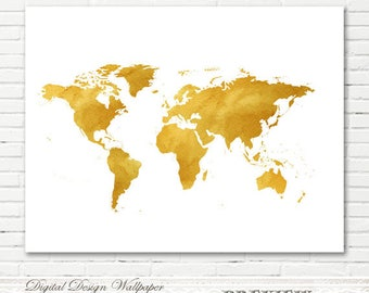 Watercolor World Map,World Map Watercolor,Printable Watercolor World Map,World Map Art,World Map Wall Art,INSTANT DOWNLOAD,Gold Watercolor