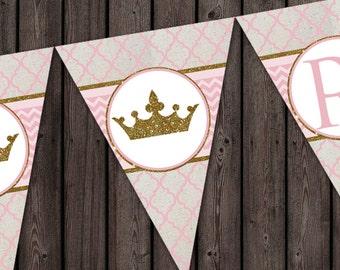 pink gold happy birthday banner, royal princess banner, instant download, pink gold HAPPY BIRTHDAY digital banner in pink quatrefoil