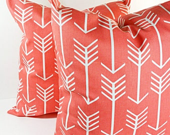 Coral Pillow, Pillows,  coral and White, arrow, Cushion, Covers,  Pillow Case,Select your size