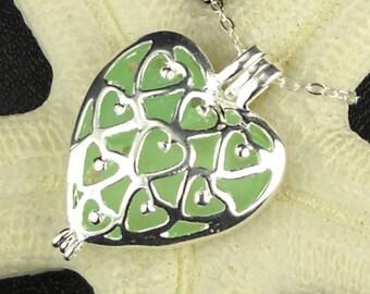 Heart Necklace Genuine Sea Foam Sea Glass Jewelery In Heart Locket