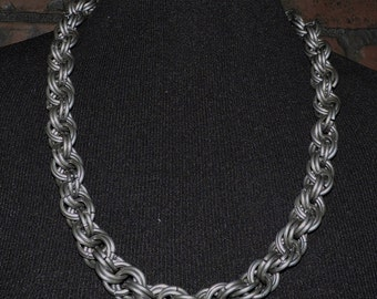 """30"""" Mens Chainmail Necklace  8 in 2 Spiral weave Large heavy rings"""