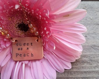 Sweet as a peach copper necklace