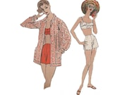 50s 2 Piece Bathing Suit Vintage Beachwear Sewing Pattern Bust 32 Vogue 8867 High Waist Shorts/ Fitted Shaped Bra Top & Over Blouse Cover UP