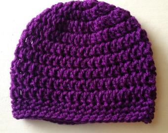 Purple Baby Beanie, Purple Crochet Beanie, Knitted Baby Beanie, Girly Baby Beanie, Baby Girl Hat, Purple Baby Hat, Purple Crochet Hat