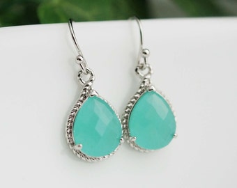 Bridal Earrings Bridesmaid Earrings Mint Opal Rhodium Trimmed Pear Cut Drop Earrings - Dangle Earrings