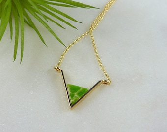 Color Collection. Green Apple and Gold Chevron Necklace. modern necklace. chevron necklace. triangle necklace. layering necklace