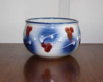 Studio Art Pottery Bowl, Hand Thrown Pottery, Red White Blue Decorative Ceramic Dish Planter, Artist Signed Pottery, Farmhouse