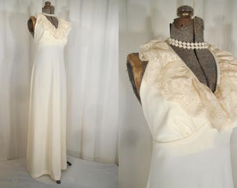 Vintage 1960s Dress / Simple White Wedding Dress / Hippie Festival Boho Dress / Lace Halter Top
