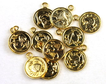 12x Vintage Gold Plated Zodiac Charms - M029 - B