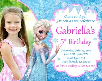 Frozen POOL PARTY invitations FREE Thank You Card