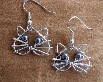 Hematite  eyes CAT EARRINGS wirework