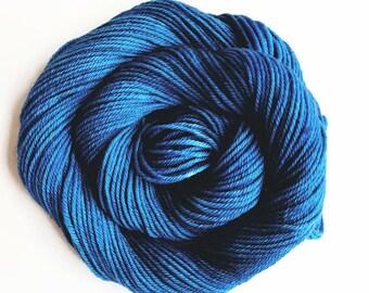 TWILIGHT hand dyed yarn fingering sock dk bulky yarn super wash merino wool yarn single or ply. choose your base. dark dusty blue yarn