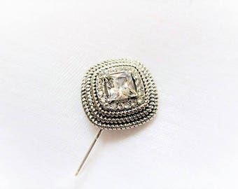 Square Diamond Clear Crystal Silver Hijab Scarf Hat Pin Brooch