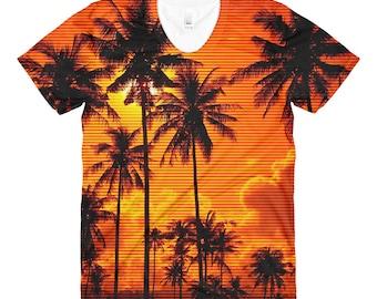 80s Clothing Neon Retro Womens Shirt Palm Tree Print Ombre Vaporwave Aesthetic Clothing Tropical Festival Clothing Rave Clothing Burning Man