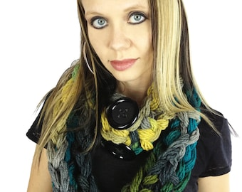 Crocheted Convertible Infinity Scarf - Greens