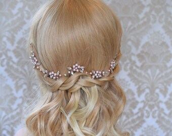 Bridal Hair Vine, Rhinestone hair vine, Pearl Hair Piece, Wedding hair vine, Crystal Hair VIne, Blush Headpiece, Rose Gold Hair Vine