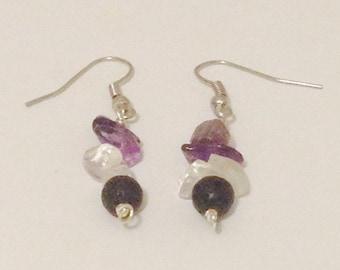 Quartz and Lava Bead earrings