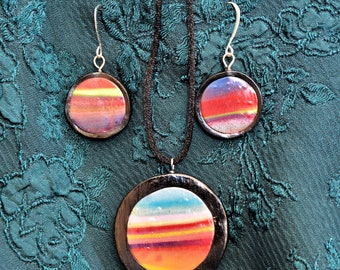 Multi Color Clay Pendant with matching Earrings