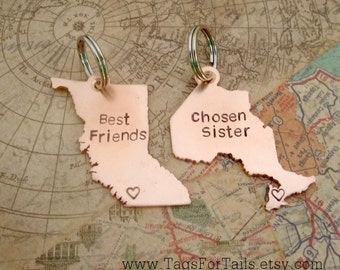 Canadian Province Keychain Set of Two- Choose Your Province-  Ontario and British Columbia Handmade