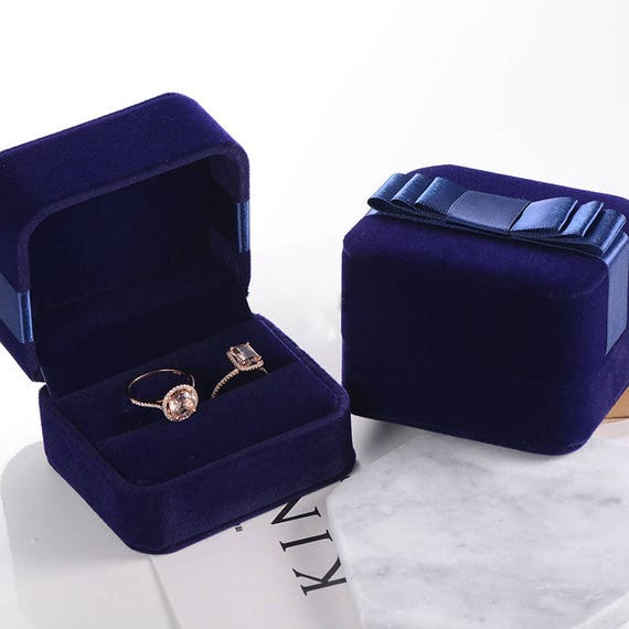 Ring Box Upgrade Blue Velvet Jewelry Box Engagement