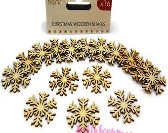 "Set of 16 snowflakes wood ""Simply Creative"" Christmas scrapbooking card making (ref.110). *."